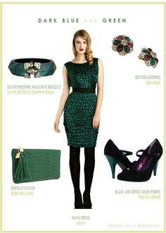 Unique Dark Blue and Green Dress for a Wedding Guest
