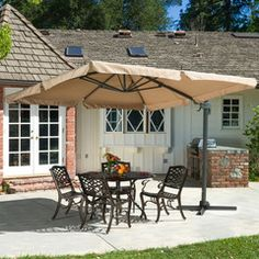 Adela Outdoor Cantilever Patio Canopy Umbrella & Base