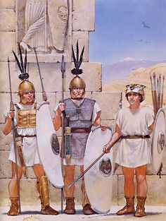 Republican Roman legionaries, (l to r) hastati, triarii and a velite, in Spain, Second Punic War, 218-201 BC - art by Angus McBride