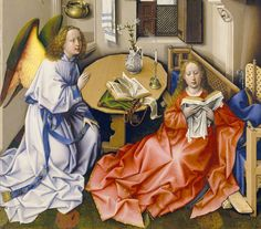 ROBERT CAMPIN, pittore. L'Annunciazione del Trittico di Mèrode. Databile 1437 ca, olio su tavola di 61x37,7 cm di dimensioni. Oggi al Metropolitan Museum, NY.