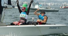 """Canadian SKUD18 sailing team of McRoberts and Gay check off """"the marriage box""""…"""