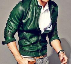 Green+Bomber+Leather+Jacket+for+men