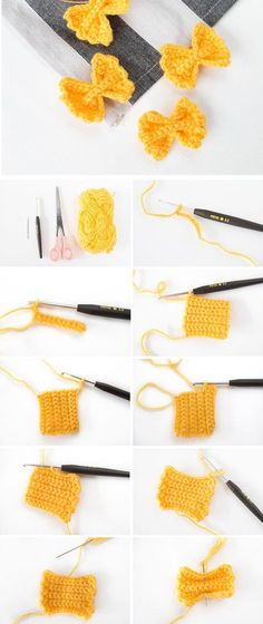 Instructions: Crochet Farfalle pasta- Anleitung: Farfalle Nudeln häkeln Crochet Instructions: Farfalle – crochet noodles for beginners – crochet food for the grocery store – crochet for kids - Blog Crochet, Crochet Bows, Crochet Diy, Crochet Amigurumi, Crochet For Kids, Crochet Flowers, Crochet Apple, Crochet Fruit, Crochet Ideas