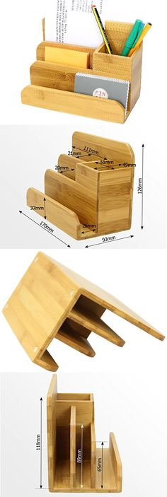 Bamboo Wooden Office Desk Organizer Storage Box Pencil Holder Business Card Holder Smart Phone Mobile Phone Dock Stand Paper Clip Holder Collection Storage Box Organizer Remote control holder Organizer Memo Holder - Phone Stand,to organizer your office s
