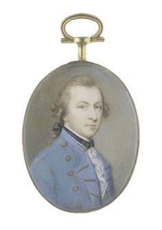 Gervase Spencer (British, circa 1715-1763) A Gentleman, wearing blue coat, white chemise and lace cravat, black tied stock, his natural hair worn en queue and tied with a black ribbon bow
