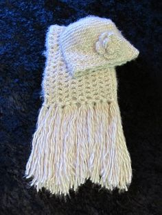 Elegant Ivory & Beige Scarf and Hat Set by clriegs on Etsy, $50.00
