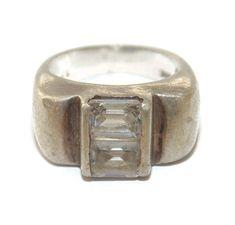 Vintage Estate Artisan Wide Man Mens Rocker Biker Pinky Sterling Silver Cigar Band Ring US Size 8 925 Jewelry Jewellery For Him Argent