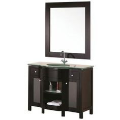 Design Element Rome 43 in. W x 22 in. D Vanity in Espresso with Glass Vanity Top and Mirror in Aqua DEC010 at The Home Depot - Mobile
