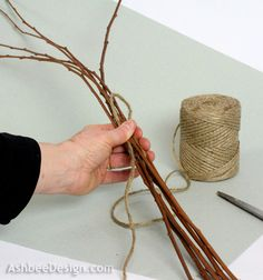 """Ashbee Design: Twig Heart Tutorial *3. To start this knot take a length of twine about 24"""" long and make loop running along the twigs as shown above."""