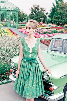 Lena Hoschek in a garden wearing a sea foam green lace dress Green Lace Dresses, Pretty Dresses, Beautiful Dresses, Green Dress, Pretty Outfits, Look Fashion, Retro Fashion, Vintage Fashion, Party Fashion