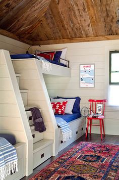 Awesome bunks with built in stair drawers for kids ~ Lakefront Camp - contemporary - bedroom - portland maine - Kristina Crestin Design