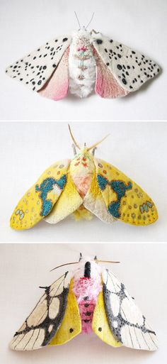 INSECTS in TEXTILES! Curious about textile art! North Carolina based artist Yuki Okita, created these creatures using fabrics adorned with realistic textures through embroidery. Design Textile, Textile Art, Design Art, Interior Design, Textiles, Fabric Art, Softies, Needle Felting, Nuno Felting