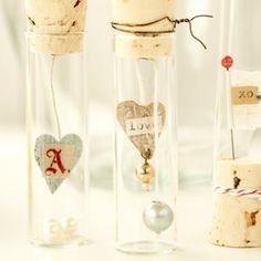 Hanging Hearts — Clear Corked Vials Project