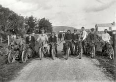 """New Zealand circa 1920. """"Young men on motorcycles, probably Wanganui region."""" Ready to run some errands, and you'd better not get in the way. Or else they might be late."""