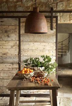 Horizontal plank natural wood sliding interior barn door with iron frame and accents – Athezza via Atticmag