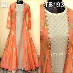 Dresses - Soft silk foil work jacket and chanderi inner with fancy latkans Size Length 58 Rs 3200 Indian Bridal Fashion, Indian Wedding Outfits, Indian Outfits, Indian Gowns Dresses, Pakistani Dresses, Kurta Designs, Blouse Designs, Stylish Dresses, Fashion Dresses