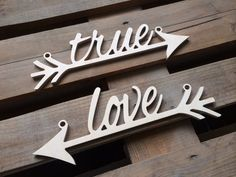 Wedding decor   chair sign arrows TRUE LOVE  available   by SunFla