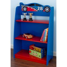 Perfect for a bedroom or playroom, every little boy will love storing their toys and books on this racecar bookshelf. Crafted with bright paint, this vibrant bookshelf is sure to stand out in any room.