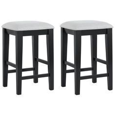 Update your dining set in seconds with these handsome black 24 inch bar stools. The contemporary, black shaker legs and grey cushions are also ideal for updating any man cave or college dormitory. Simple and versatile, they will look great for years.