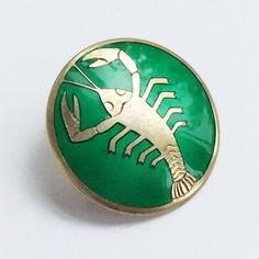 Vintage J Tostrup Norway Brooch Green Enamel Pin Zodiac Cancer Crab Scorpio Symbol, Zodiac Jewelry, Scandinavian Modern, Etsy Uk, Etsy Store, 1940s, Brooch, Jewels, Bijoux