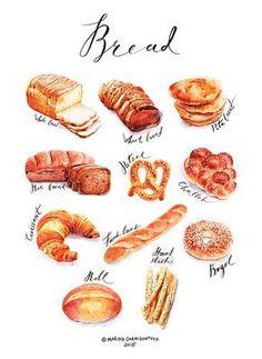 52 Trendy ideas for bread illustration behance Dessert Illustration, Food Sketch, Watercolor Food, Food Painting, Food Drawing, Kitchen Art, Food Illustrations, Cute Food, Food Items