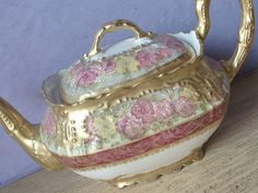 Antique 1890's LS & S Limoges France Pink yellow red gold white porcelain teapot - Teapots & Tea Sets