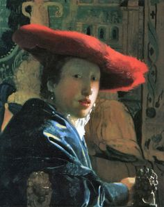 Girl with a Red Hat, a small painting by the Dutch painter Johannes #Vermeer. C. 1665-1666. On Vintprint.com as a #poster. #forsale #art #artwork