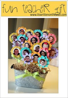 use the class pics to make a bouquet