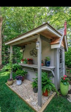 Small Garden Shed Storage ideas is part of Backyard sheds - Small Garden Shed Storage ideas [ ]Read Garden Shed Diy, Backyard Sheds, Garden Pots, Backyard Landscaping, Home And Garden, Backyard Storage, Shed Patio Ideas, Rustic Backyard, Back Yard Shed Ideas