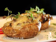 plnené šampiňóny Russian Recipes, Cottage Cheese, Creative Food, Baked Potato, Stuffed Mushrooms, Appetizers, Potatoes, Favorite Recipes, Baking