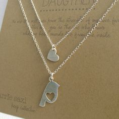 Mother Daughter Necklace Set sterling silver bird por carriesaxl