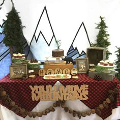 """Lumberjack themed 1st birthday party """"You'll Move Mountains"""" designed by Bella…"""
