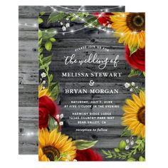 Rustic Sunflower Burgundy Red Rose Wood Wedding Invitation Wood Wedding Invitations, Wood Invitation, Sunflower Wedding Invitations, Watercolor Wedding Invitations, Birthday Invitations, Sunflower Weddings, Invitation Cards, Sunflower Wedding Flowers, Quince Invitations