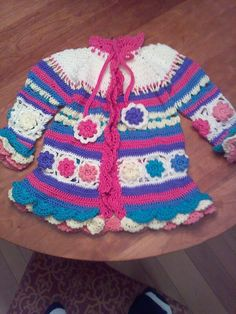 Finally finished the coat of many colors  Should fit Kennedy in the spring.