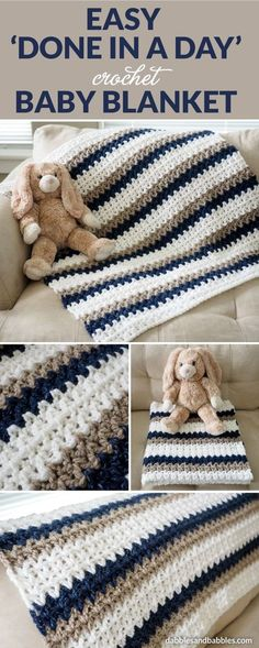 "This ""Done in a Day"" crochet baby blanket is about as easy as it gets. As long as you can chain and double crochet, you can whip up one of these blankets yourself. Feel free to change up the colors and customize for either gender or to go with the nursery. #crochet #crochetlove #crochetafghan"