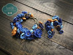Polymer clay bracelet and earrings by Valeria Maslova.
