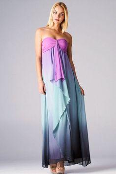 Purple Ombre Maxi Strapless Dress  Price:$49.95