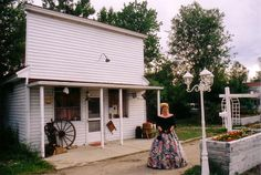 """Kimary's first picture at PVH infront of the 1911 """"Storefront"""" in 2001 (Prospect Valley Hospitality Historic 1872 property, Wheat Ridge, Colorado, USA)"""