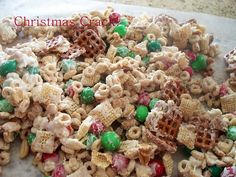 Christmas Crack  Recipe for Christmas Crack:    2 cups of the following:  M and Ms,  Square pretzels , peanuts,  plain Cheerios,  Rice or Corn Chex cereal,  2 bags of White Chocolate morsels    Mix the dry ingredients together in large bowl  Microwave the the white chocolate  morsels slowly .Pour over everything and mix well.Pour onto wax paper let cool. Break into pieces and store in refrigerator.