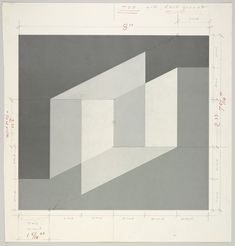 Color sheets for Josef Albers' Never Before series, and one sheet with the general layout for Never Before.