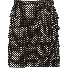 RED Valentino Ruffled polka-dot silk skirt (£152) ❤ liked on Polyvore
