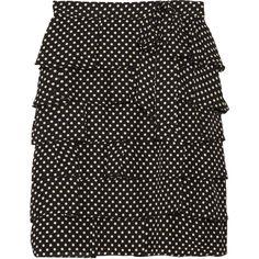RED Valentino Ruffled polka-dot silk skirt ($244) found on Polyvore