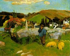 The Swineherd (El Porquero o paisaje de Betraña). Paul Gauguin, 1888. Los Ángeles County Museum of Art, Los Ángeles, California. Estados Unidos. Posimpresionismo.