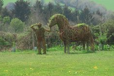 Living Willow Knight and Shire Horse at Cotehele