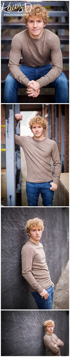 Pose ideas in simple outfits for senior boys. Photographer Columbia MO Kacey D Photography