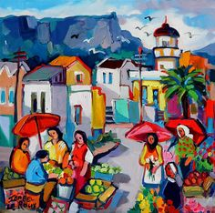 Artwork of Isabel le Roux exhibited at Robertson Art Gallery. Original art of more than 60 top South African Artists - Since Poppy Field Painting, Oil Painting Texture, Boat Art, South African Artists, Tropical Art, Impressionism Art, City Art, Acrylic Painting Canvas, Lovers Art
