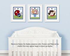 Set of 3  Unframed (Sports Varsity Baby) 8x10 inch Linen Look Nursery Wall Art Prints Baby Children Kids Decor
