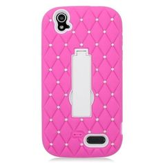 Insten Symbiosis Soft Dual Layer Rubber Hard Cover Stand Case with Diamond For ZTE Grand X - Hot Pink/White