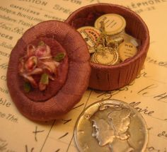 Miniature 1:12 scale OOAK Sewing Basket