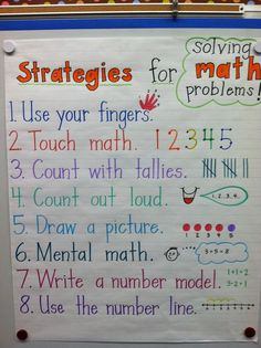 for Cha Cha- math strategies poster. I like the poster perhaps without the touch math. Preschool Math, Math Classroom, Kindergarten Math, Teaching Math, Math Activities, Classroom Ideas, Math Math, Math Fractions, Guided Math